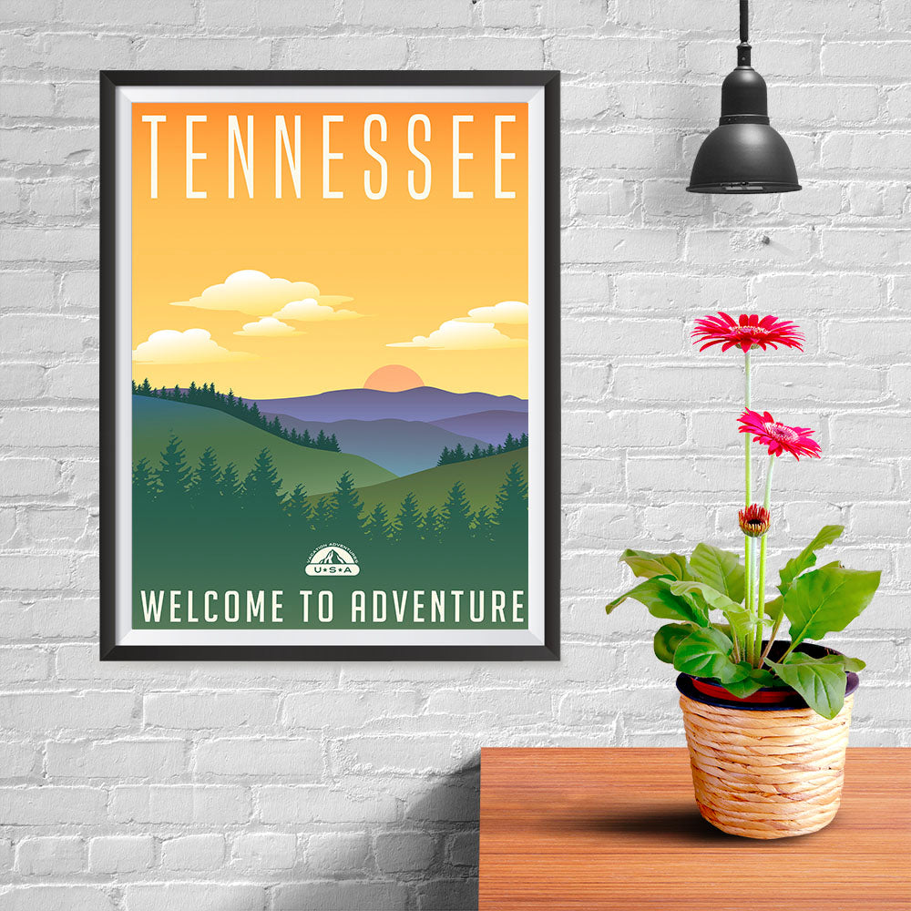 Ezposterprints - TENNESSEE Retro Travel Poster - 12x16 ambiance display photo sample