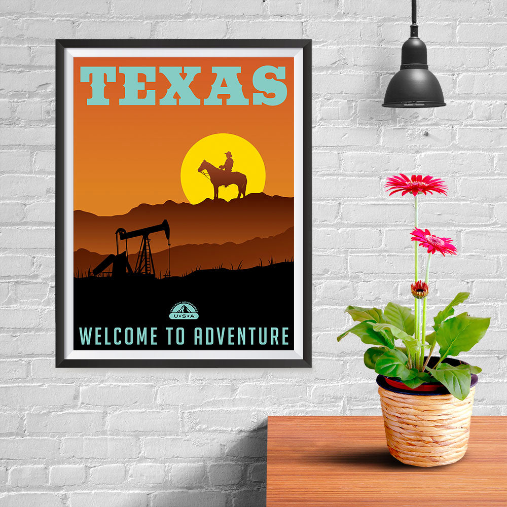 Ezposterprints - TEXAS Retro Travel Poster - 12x16 ambiance display photo sample