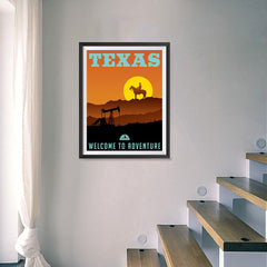Ezposterprints - TEXAS Retro Travel Poster - 18x24 ambiance display photo sample