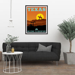 Ezposterprints - TEXAS Retro Travel Poster - 24x32 ambiance display photo sample