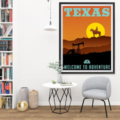 Ezposterprints - TEXAS Retro Travel Poster - 36x48 ambiance display photo sample