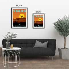 Ezposterprints - TEXAS Retro Travel Poster ambiance display photo sample