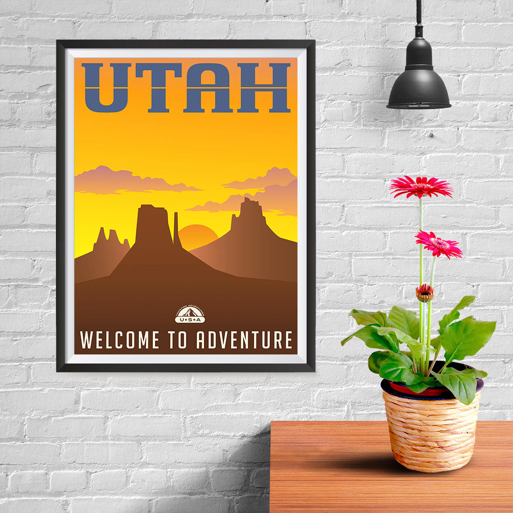 Ezposterprints - UTAH Retro Travel Poster - 12x16 ambiance display photo sample