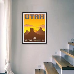 Ezposterprints - UTAH Retro Travel Poster - 18x24 ambiance display photo sample