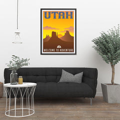 Ezposterprints - UTAH Retro Travel Poster - 24x32 ambiance display photo sample