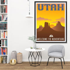 Ezposterprints - UTAH Retro Travel Poster - 36x48 ambiance display photo sample