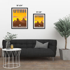 Ezposterprints - UTAH Retro Travel Poster ambiance display photo sample