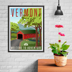 Ezposterprints - VERMONT Retro Travel Poster - 12x16 ambiance display photo sample