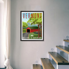 Ezposterprints - VERMONT Retro Travel Poster - 18x24 ambiance display photo sample