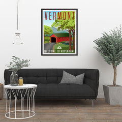 Ezposterprints - VERMONT Retro Travel Poster - 24x32 ambiance display photo sample