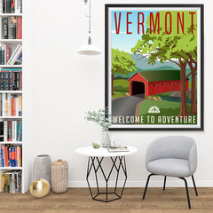 Ezposterprints - VERMONT Retro Travel Poster - 36x48 ambiance display photo sample