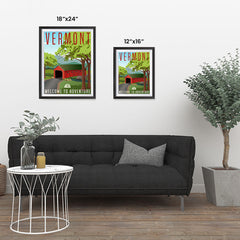 Ezposterprints - VERMONT Retro Travel Poster ambiance display photo sample