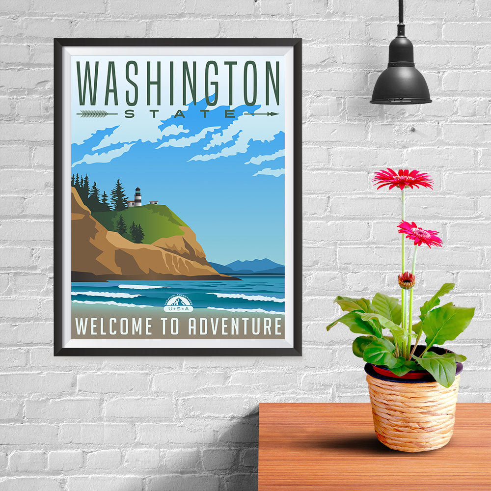 Ezposterprints - WASHINGTON Retro Travel Poster - 12x16 ambiance display photo sample