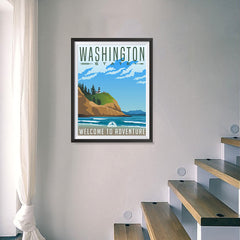 Ezposterprints - WASHINGTON Retro Travel Poster - 18x24 ambiance display photo sample