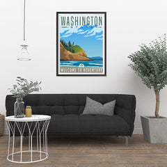 Ezposterprints - WASHINGTON Retro Travel Poster - 24x32 ambiance display photo sample