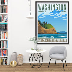 Ezposterprints - WASHINGTON Retro Travel Poster - 36x48 ambiance display photo sample