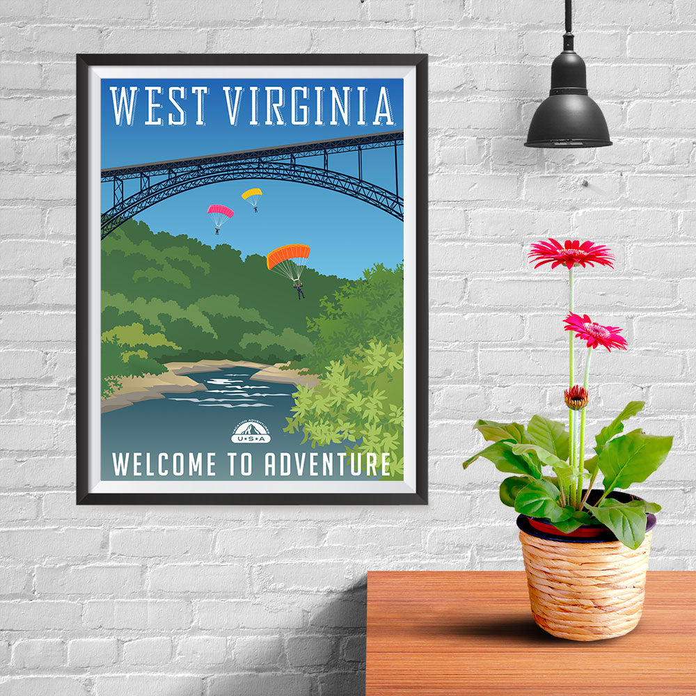 Ezposterprints - WEST VIRGINIA Retro Travel Poster - 12x16 ambiance display photo sample