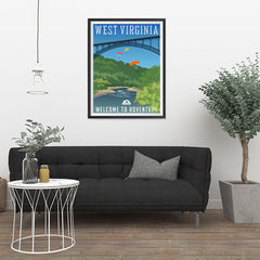 Ezposterprints - WEST VIRGINIA Retro Travel Poster - 24x32 ambiance display photo sample