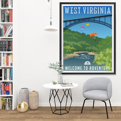Ezposterprints - WEST VIRGINIA Retro Travel Poster - 36x48 ambiance display photo sample