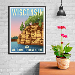 Ezposterprints - WISCONSIN Retro Travel Poster - 12x16 ambiance display photo sample