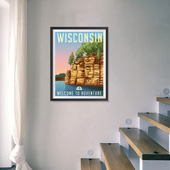 Ezposterprints - WISCONSIN Retro Travel Poster - 18x24 ambiance display photo sample