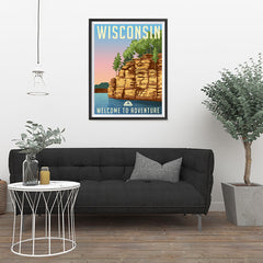 Ezposterprints - WISCONSIN Retro Travel Poster - 24x32 ambiance display photo sample