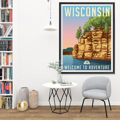 Ezposterprints - WISCONSIN Retro Travel Poster - 36x48 ambiance display photo sample