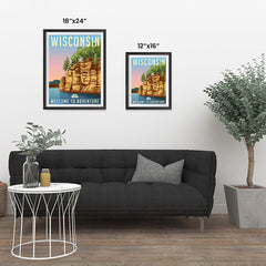 Ezposterprints - WISCONSIN Retro Travel Poster ambiance display photo sample