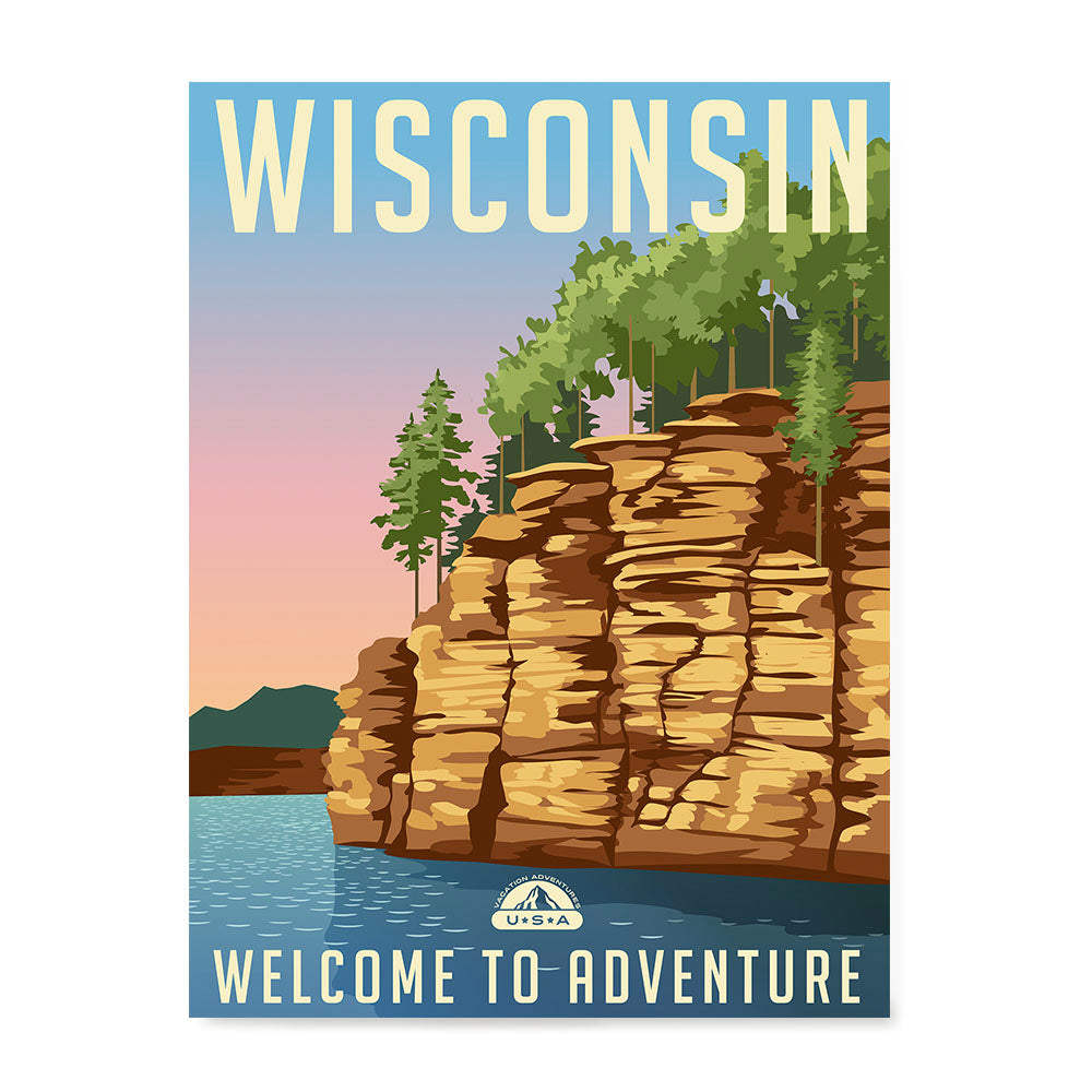 Ezposterprints - WISCONSIN Retro Travel Poster