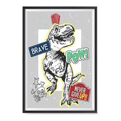 Ezposterprints - The Brave Racer T-Rex | Dinosaurs Jurassic Games ambiance display photo sample