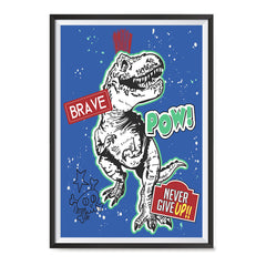 Ezposterprints - The Brave Racer T-Rex - Blue | Dinosaurs Jurassic Games ambiance display photo sample