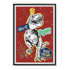 Ezposterprints - The Brave Racer T-Rex - Red | Dinosaurs Jurassic Games ambiance display photo sample