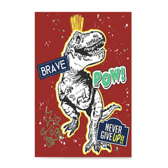 Ezposterprints - The Brave Racer T-Rex - Red | Dinosaurs Jurassic Games
