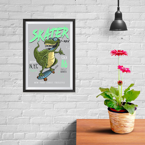 Ezposterprints - Cool 86 T-Rex Skater - 08x12 ambiance display photo sample