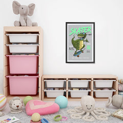 Ezposterprints - Cool 86 T-Rex Skater | Dinosaurs Jurassic Games - 16x24 ambiance display photo sample