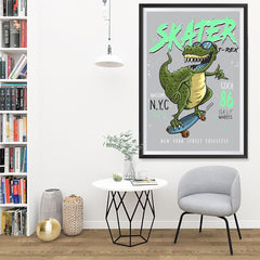 Ezposterprints - Cool 86 T-Rex Skater | Dinosaurs Jurassic Games - 32x48 ambiance display photo sample