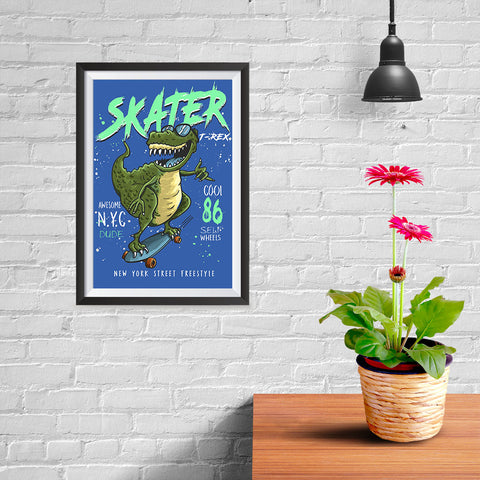 Ezposterprints - Cool 86 T-Rex Skater - Blue - 08x12 ambiance display photo sample