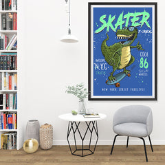 Ezposterprints - Cool 86 T-Rex Skater - Blue | Dinosaurs Jurassic Games - 32x48 ambiance display photo sample