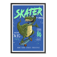 Ezposterprints - Cool 86 T-Rex Skater - Blue | Dinosaurs Jurassic Games ambiance display photo sample