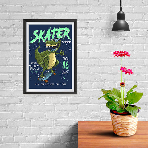 Ezposterprints - Cool 86 T-Rex Skater - Navy - 08x12 ambiance display photo sample