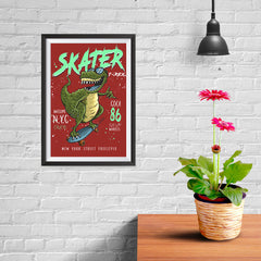 Ezposterprints - Cool 86 T-Rex Skater - Red - 08x12 ambiance display photo sample