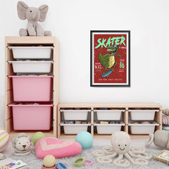 Ezposterprints - Cool 86 T-Rex Skater - Red | Dinosaurs Jurassic Games - 16x24 ambiance display photo sample