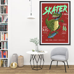 Ezposterprints - Cool 86 T-Rex Skater - Red | Dinosaurs Jurassic Games - 32x48 ambiance display photo sample
