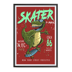 Ezposterprints - Cool 86 T-Rex Skater - Red | Dinosaurs Jurassic Games ambiance display photo sample