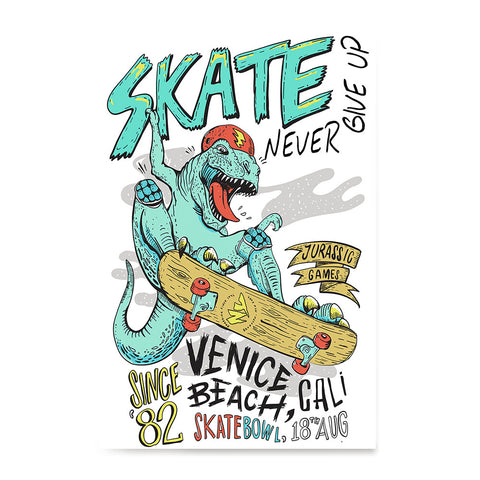 Ezposterprints - Skate & Never Give Up T-Rex | Dinosaurs Jurassic Games
