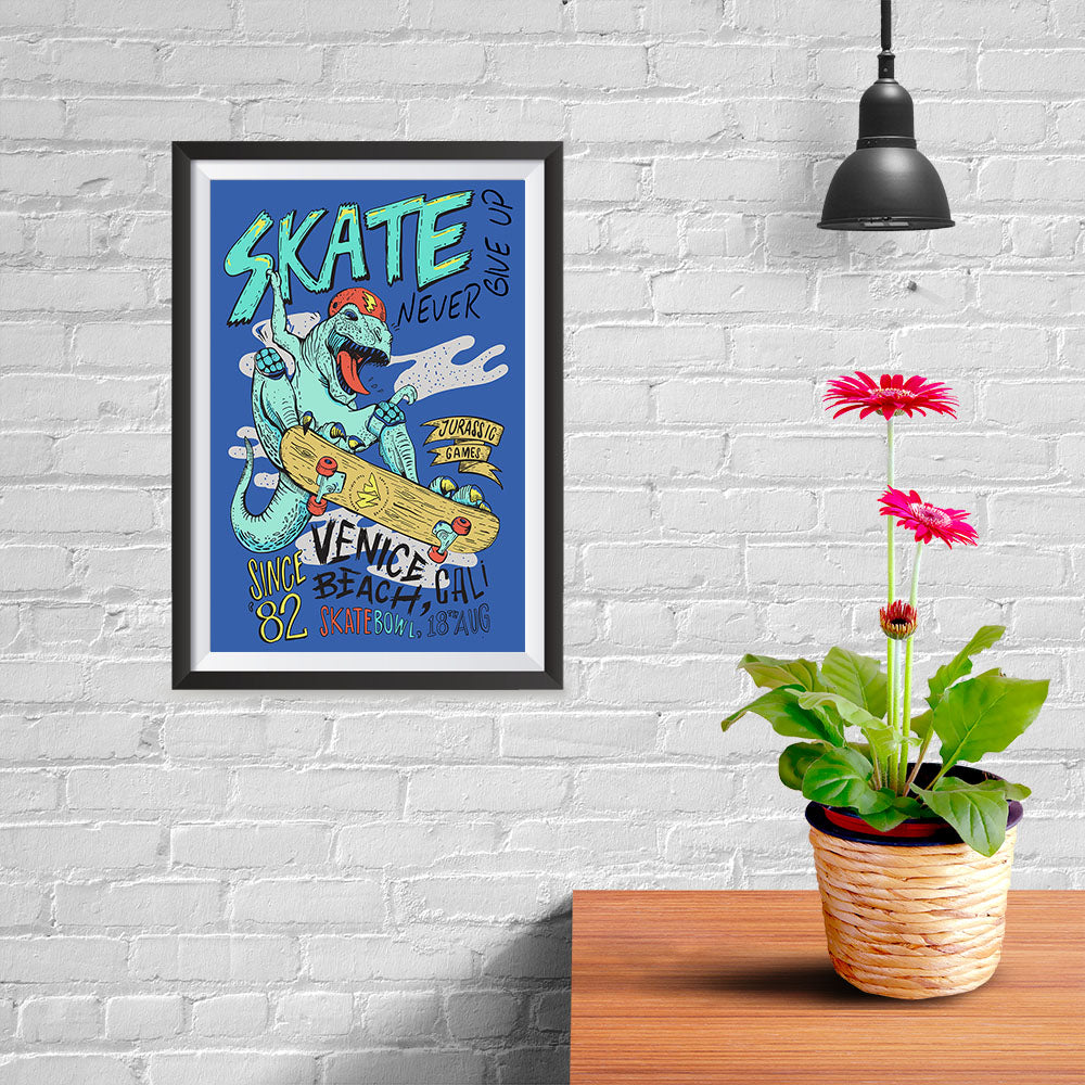 Ezposterprints - Skate & Never Give Up T-Rex - Blue - 08x12 ambiance display photo sample