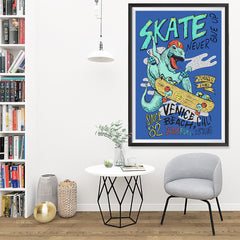 Ezposterprints - Skate & Never Give Up T-Rex - Blue | Dinosaurs Jurassic Games - 32x48 ambiance display photo sample