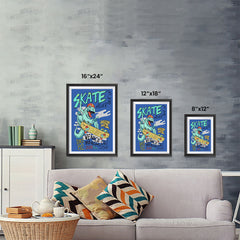 Ezposterprints - Skate & Never Give Up T-Rex - Blue | Dinosaurs Jurassic Games ambiance display photo sample