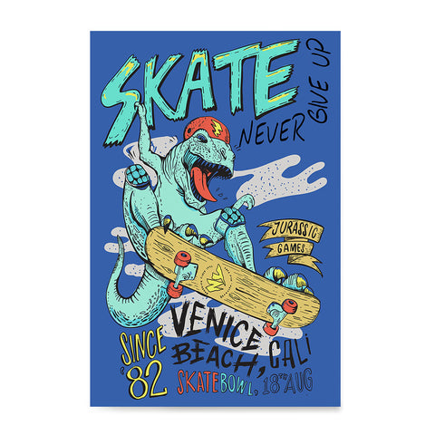 Ezposterprints - Skate & Never Give Up T-Rex - Blue | Dinosaurs Jurassic Games