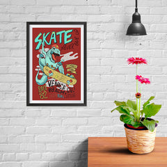 Ezposterprints - Skate & Never Give Up T-Rex - Red - 08x12 ambiance display photo sample